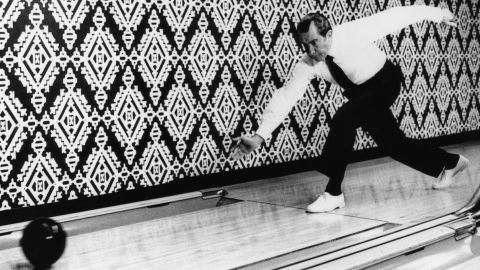 """Richard Nixon and first lady Pat Nixon both liked to bowl. The Nixons were responsible for moving <a href=""""http://www.whitehousemuseum.org/floor0/bowling-alley.htm"""" target=""""_blank"""" target=""""_blank"""">the White House bowling alley back into the Executive Mansion</a> after it had been relocated years earlier to a nearby building."""