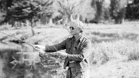 """Jimmy Carter and his wife, Rosalynn, began <a href=""""http://www.nytimes.com/1991/05/04/sports/outdoors-in-fly-fishing-carter-s-record-can-t-be-assailed.html"""" target=""""_blank"""" target=""""_blank"""">fly fishing</a> in Georgia in the early 1970s. Here, the 39th President fishes in Wyoming in 1978."""