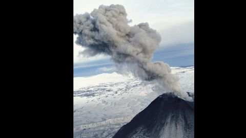 The Karymsky volcano erupts in Kamchatka, Russia, in January 2013.