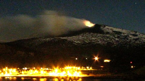 The Copahue volcano emits smoke and ash above Caviahue, in Argentina's Neuquen province, in December 2012.