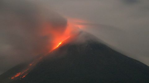 """Western Mexico's Colima volcano emits lava in October 2004. The Global Volcanism Program reported """"a bright thermal anomaly"""" as well as gas emission in November 2013."""