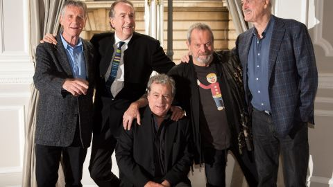 British comedy troupe Monty Python, (L-R) Michael Palin, Eric Idle, Terry Jones, Terry Gilliam and John Cleese pose for a photograph during a media event in central London on November 21, 2013. Cue endless jokes about resting parrots -- the five surviving members of Monty Python, Britain's cult comedy troupe, announced on November 21 they will take to the stage again next year, three decades after their last performance together. AFP PHOTO / LEON NEALLEON NEAL/AFP/Getty Images