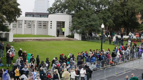A crowd gathers before the Dealey Plaza ceremony.