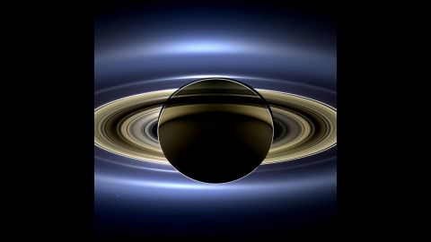 """This one went viral too: <a href=""""http://www.cnn.com/2013/11/13/us/nasa-saturn-earth-picture/"""">a new view of Saturn</a> taken by NASA's Cassini spacecraft. It's a natural color image that shows the view as it would be seen by a human observer."""