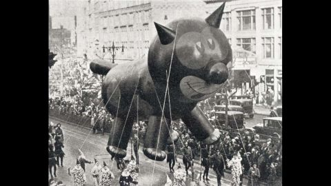 """Felix the Cat was one of the first giant balloons to appear in the <a href=""""http://social.macys.com/parade/?cm_mmc=VanityUrl-_-parade-_-n-_-n#/home"""" target=""""_blank"""" target=""""_blank"""">Macy's Thanksgiving Day Parade.</a> The parade in New York City, as much a holiday tradition as turkey, football and dinner-table debates, started in 1924. Balloons first appeared in 1927, replacing live animals from the Central Park Zoo."""