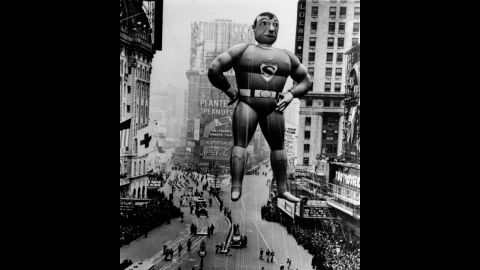 """<strong>Superman (1939):</strong> """"It's a bird! It's a plane!"""" No, its a typical joke that's associated with the Superman balloon that debuted in 1939. The Man of Rubber has graced the parade with three different versions of himself, also in 1966 and in 1980. The third version is the largest balloon ever to appear in the history of the parade (104 feet long)."""