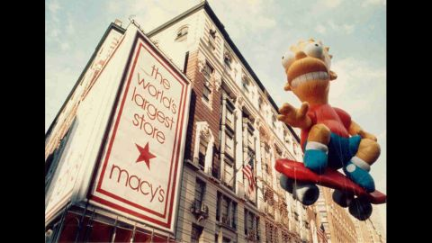 """<strong>Bart Simpson (1990):</strong> """"Cowabunga!"""" Bart Simpson skateboards down Broadway as he makes his parade debut. In 1993, Bart split his seams due to extremely windy conditions."""