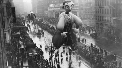"""<strong>Eddie Cantor (1940):</strong> Eddie who? Eddie Cantor, the """"Banjo Eyes"""" song-and-dance man who had already peaked in popularity before he floated down Broadway. He is known for songs like """"Makin' Whoopee"""" and for being only the second balloon in the parade to be based on a living person (the Marx Brothers were the first). Cantor's balloon doesn't appear in the parade anymore, and neither do other balloons based on real people."""