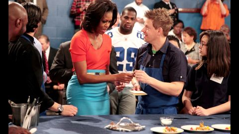 """First lady Michelle Obama visits Blais on """"Life After Top Chef"""" in February 2012."""