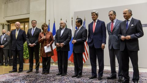 British Foreign Secretary William Hague, German Foreign Minister Guido Westerwelle, EU foreign policy chief Catherine Ashton, Iranian Foreign Minister Mohammad Javad Zarif, Chinese Foreign Minister Wang Yi, US Secretary of State John Kerry, Russian Foreign Minister Sergei Lavrov and French Foreign Minister Laurent Fabius attend a statement on early November 24, 2013 in Geneva.