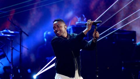 Rapper Kendrick Lamar takes the stage.