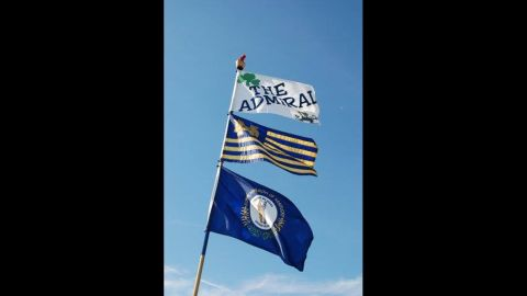 """Marc Wolnitzek flies his """"The Admiral"""" flag in Notre Dame's stadium parking lot so friends can easily find him."""