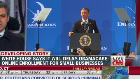lead lkl acosta Obamacare delayed for small businesses _00000316.jpg
