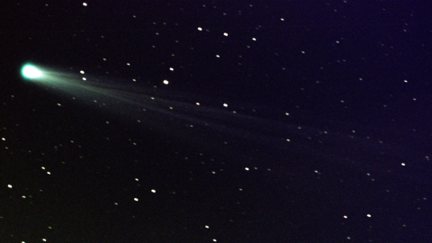 Comet ISON shows off its tail in this three-minute exposure taken on Nov. 19, 2013 at 6:10 a.m. EST, using a 14-inch telescope located at the Marshall Space Flight Center. The comet is just nine days away from its close encounter with the sun; hopefully it will survive to put on a nice show during the first week of December. The star images are trailed because the telescope is tracking on the comet, which is now exhibiting obvious motion with respect to the background stars over a period of minutes.