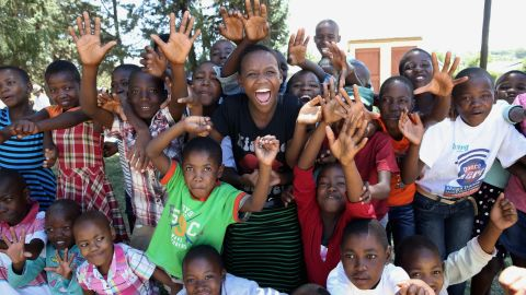 HIV positive children take part in a club supported by Prince Harry's Sentebale charity on February 23, 2013 in Lesotho.