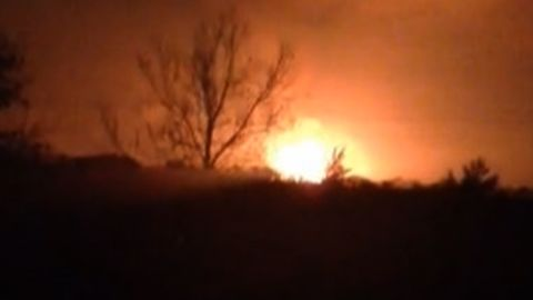 The explosion caused a massive fireball in the night sky.