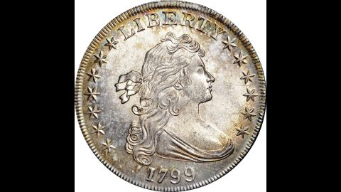 """The front of a pristine 1799 """"Draped Bust"""" silver dollar is shown. It sold for $822,500 at a two-day New York auction that ended Saturday, November 16."""