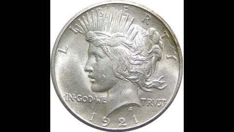 """According to the U.S. Mint, the silver """"Peace"""" dollar was produced from 1921 to 1935 to commemorate the end of World War I."""
