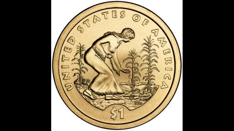 """The """"Three Sisters"""" coin features a Native American woman tending her garden. The three plants represent corn, beans and squash, according to the U.S. Mint."""