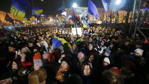 Demonstrators take to the streets in the center of Kiev on November 28.