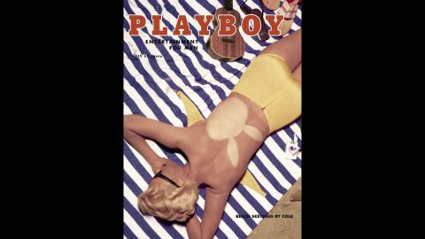 The July 1955 issue was the first time the bikini was modeled prominently on the cover. The model on the beach towel is Janet Pilgrim, who also appeared as the issue's Playmate of the Month.