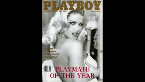 Anna Nicole Smith is named Playmate of the Year on the June 1993 cover. Smith first appeared on Playboy's March 1992 cover.  Within months, she was named Miss May 1992 and a spokeswoman for Guess jeans.