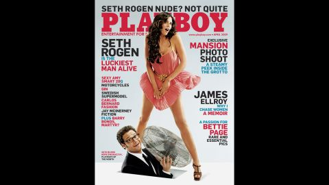 Seth Rogan appears on the cover in April 2009. In Playboy's 60-year history, the magazine has featured a man on the cover 10 times. The first was Peter Sellers in April 1964. Other men on the cover: Burt Reynolds, Steve Martin, Donald Trump, Dan Aykroyd, Jerry Seinfeld, Leslie Nielsen, Gene Simmons and Bruno Mars.