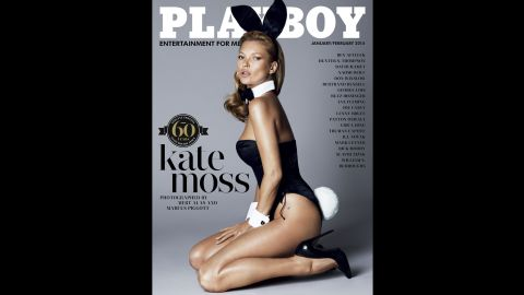 The cover of Playboy magazine's 60th anniversary issue features supermodel Kate Moss.