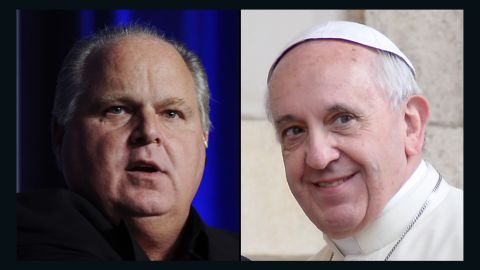 "Talk show radio host Rush Limbaugh, left, condemns Pope Francis' proclamation of the Catholic gospel as ""pure Marxism."""