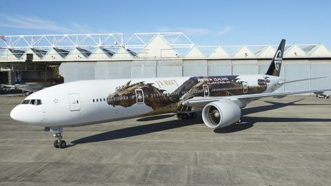 """In honor of the new film, """"The Hobbit: The Desolation of Smaug,"""" Air New Zealand has unveiled a new Hobbit-themed livery on one of its Boeing 777-300s, with Smaug himself stretched out along the plane."""