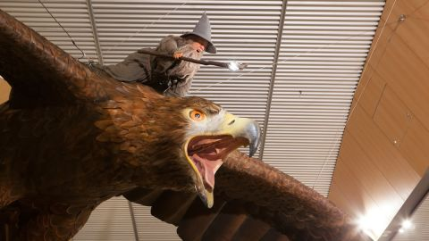 The two eagles in Wellington International Airport each weigh approximately one ton, and have a wingspan of 15 feet.