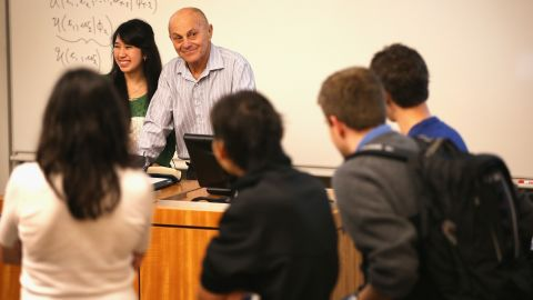 CHICAGO, IL - OCTOBER 14: University of Chicago professor Eugene Fama speaks to students in his classroom at the university on October 14, 2013 in Chicago, Illinois. Earlier in the morning Fama learned he had won the Nobel Prize in Economic Sciences. Fama, and his U of C colleague Lars Peter Hansen and Yale University professor Robert Shiller will share the prize. (Photo by Scott Olson/Getty Images)