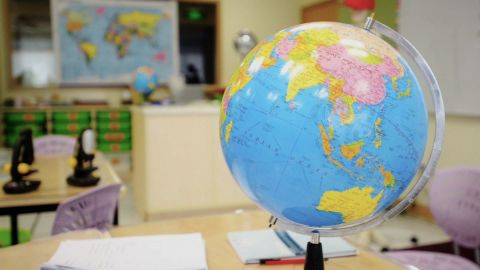 A globe is pictured at a school in Shanghai