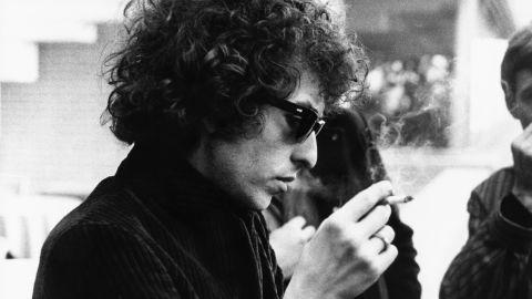 Bob Dylan smokes a cigarette circa 1966.