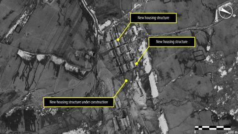 A year and a half later, in April 2013, the area appears to have undergone change, with new housing being recently added or under construction. The guard post in the immediate vicinity of the village allows for constant supervision of the prisoners and is indicative of the tight security within the political prison camp, says Amnesty International.