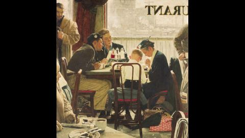 """Norman Rockwell's painting """"Saying Grace"""" sold for $46 million in 2013 at Sotheby's American Art auction. It was a record for works by the late artist and for a single American painting. The illustration originally appeared on the Thanksgiving issue cover of The Saturday Evening Post in 1951."""