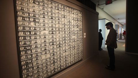 """Warhol's """"200 One Dollar Bills,"""" which was bought by a private client in 1986 for $383,000, sold in 2009 for more than 100 times that -- $43.8 million."""