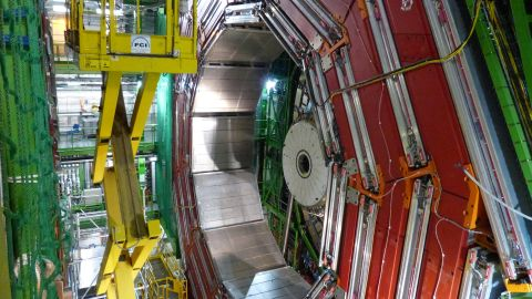 The Higgs boson, the elusive particle that scientists had hoped to find for decades, helps explain why matter has mass. This is part of CMS, one one of the experiments that detected the particle.