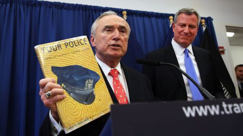 New York Police Commissioner Bill Bratton, left, and Mayor Bill de Blasio say the city is ready. They're shown in a photo from a few weeks ago.