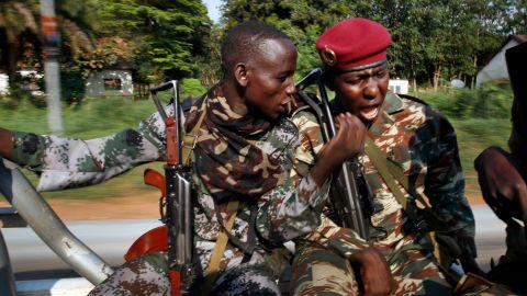 Seleka soldiers patrol Bangui on December 5.