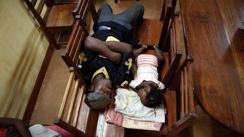 Civilians seek shelter in a Catholic church in Bangui on December 5.