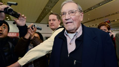 """U.S. tourist and Korean War veteran Merrill Newman arrives at the Beijing airport on December 7, 2013, after being released by North Korea. Newman was <a href=""""http://www.cnn.com/2013/11/20/world/asia/north-korea-detained-american/index.html"""">detained in October 2013 by North Korean authorities</a> just minutes before he was to depart the country after visiting through an organized tour. His son Jeff Newman said the Palo Alto, California, man had all the proper paperwork and set up his trip through a North Korean-approved travel agency."""