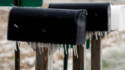 Icicles hang from mailboxes in Owensboro, Kentucky, on December 6.