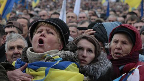 Pro-EU activists shout slogans during the rally on December 8. An estimated 100,000 Ukrainians participated.