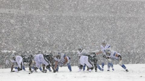 The Detroit Lions and Philadelphia Eagles face off during heavy snow in Philadelphia on December 8.