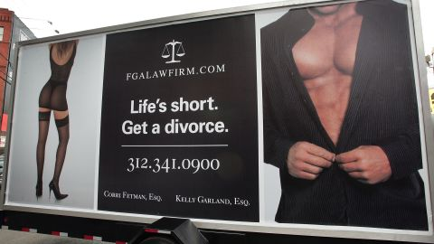 A billboard advertises a Chicago law firm. Pepper Schwartz says the baby boomer divorce rate has soared.