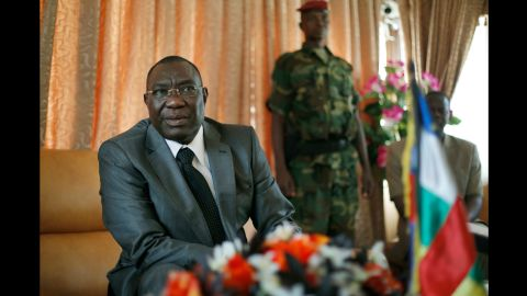Michel Djotodia, the country's president who had been one of the Seleka leaders, gives a press conference in his Bangui office on December 8.