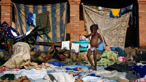 A displaced child walks in Bangui on December 8.