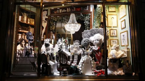 """<strong>""""Hirschfeld Spectacular,"""" Henri Bendel, New York:</strong> For<strong> </strong>the """"Hirschfeld Spectacular"""" at Henri Bendel in Manhattan, the Fifth Avenue boutique collaborated with Margo Feiden Galleries to create a 3-D tribute to the late line artist Al Hirschfeld, known for his renderings of celebrities spanning a 75-year career. This window recreates a New York townhouse Christmas dinner party with Marilyn Monroe, Sarah Jessica Parker, Liza Minnelli, Woody Allen, Whoopi Goldberg and Audrey Hepburn."""