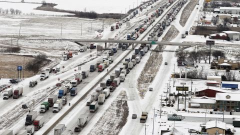 Vehicle traffic on I-35 in Sanger, Texas, is at a dead stop due to icy road conditions on Saturday, December 7.